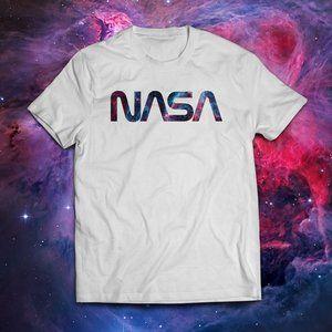 Nasa Nebula Worm Logo White Tee
